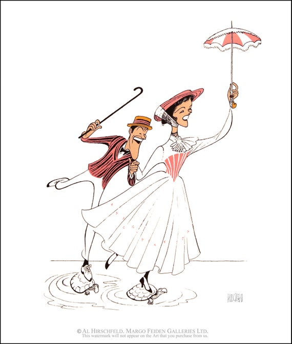 Al Hirschfeld Dick Van Dyke and Mary Tyler Moore