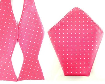 Pink White Polka Dot Self Tied Bowtie Pocket Square.Combo Bowtie Pocket Square.Untied Bow Tie Hanky. Wedding Bowtie Pocket Square.