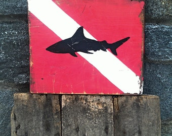Diver down with Shark dive nautical sign on salvaged barn wood hand-painted rustic distressed MADE 2 ORDER