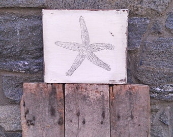 Starfish sign on salvaged barn wood hand-painted rustic distressed