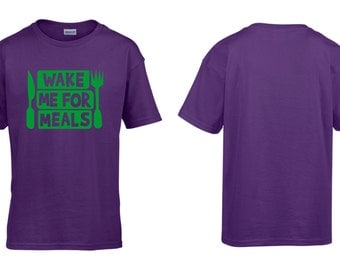 Wake Me For Meals Kids Childrens Child Boys Girls Cotton T-Shirt Retro Comic Geek NEW