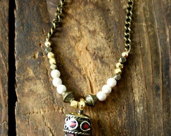 Tibetan Brass Horn Necklace
