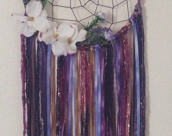 Floral Bohemian Dreamcatcher with Hemp Cording // Wall Hanging