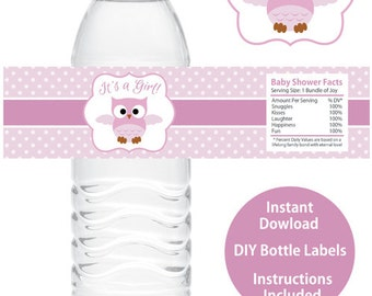 Owl Baby Shower Water Bottle Wrappers Printable Owl Baby Shower Water Bottle Labels Printable DIY Girl Baby Shower It's a Girl Owl Theme
