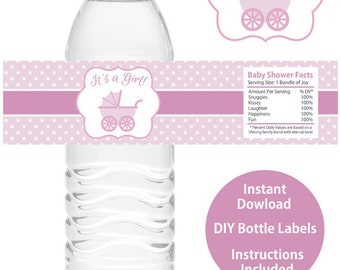 Girl Baby Shower Water Bottle Wrappers Printable Baby Shower Water Bottle Labels DIY Baby Stroller Baby Carriage Baby Wagon It's a Girl Pink