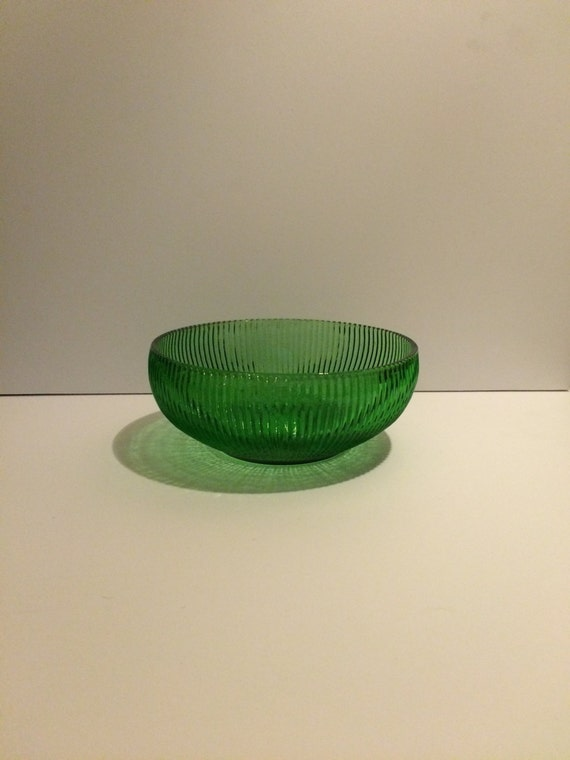 Vintage E O Brody Cleveland Oh Ribbed Green Glass By