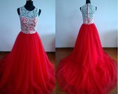 Red prom dress long prom gown ball gown dress lace prom dress lace dress homecoming dress evening dress ball dress Color#1
