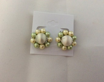 Vintage Green Pearl Clip On Earrings. Signed Japan.  Angelic Beaders. Collectible Jewelry. 1950s Clip Ons. Retro. Estate Jewelry. Birthday