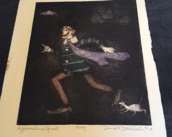 Approaching Squall: Dark Color Viscosity Artists Proof Showing A Clown And His Dog And Umbrella By American Printmaker David F. Driesbach