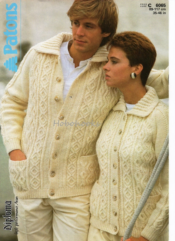 Knitting Pattern For Mens Aran Cardigan : Womens aran cardigan knitting pattern mens aran cardigan