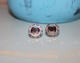 Rose Gold Crystal Post Earrings 13mm Chaton