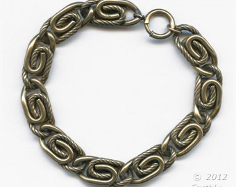 Vintage heavy solid brass scroll chain bracelet. (brvn998)