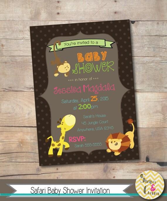 safari baby shower invitation jungle theme baby shower invite brown