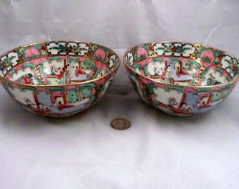 Antique Pair of Canton Ware Famille Rose Porcelain Bowls, Appraisal Attached