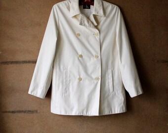 CALVIN KLEIN White Ivory  Rainwear Casual  Jacket Large Size