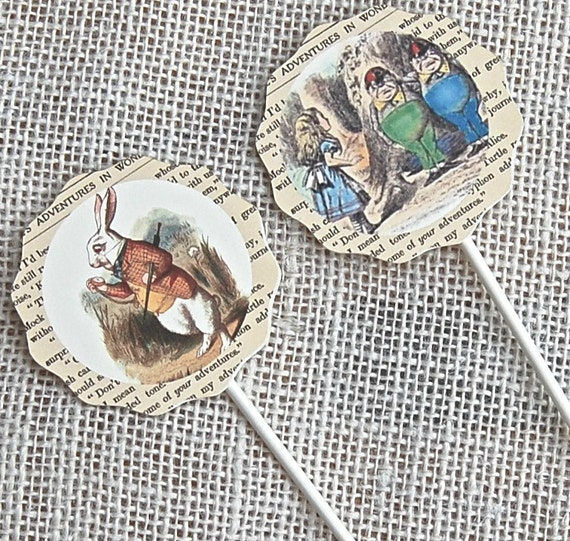 Cupcake Toppers - Alice in Wonderland Party,Food Picks, Birthday Party Decorations, Alice Tea Party, Alice in Wonderland Birthday Party