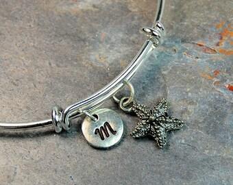 QUICK SHIP, Starfish bracelet, Expandable bangle, Beach Charm Personalized bracelet, Charm bangle, Monogram, Initial bracelet