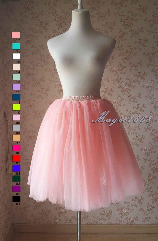 Blush Pink Tulle Skirt. Knee Length Tutu Skirt Tulle Skirt -Plus ...