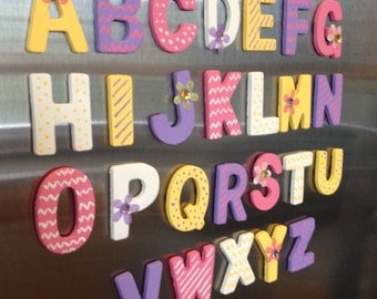 Wood alphabet magnet letters; fridge ABC magnets; kids play magnets; pink, purple, yellow, and white flower magnets