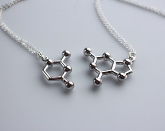 DNA Base Pair Molecule Necklace, Friendship Necklace Pair, Love Necklace Pair, DNA Keychain, Sterling Silver or Gold Filled Chain.