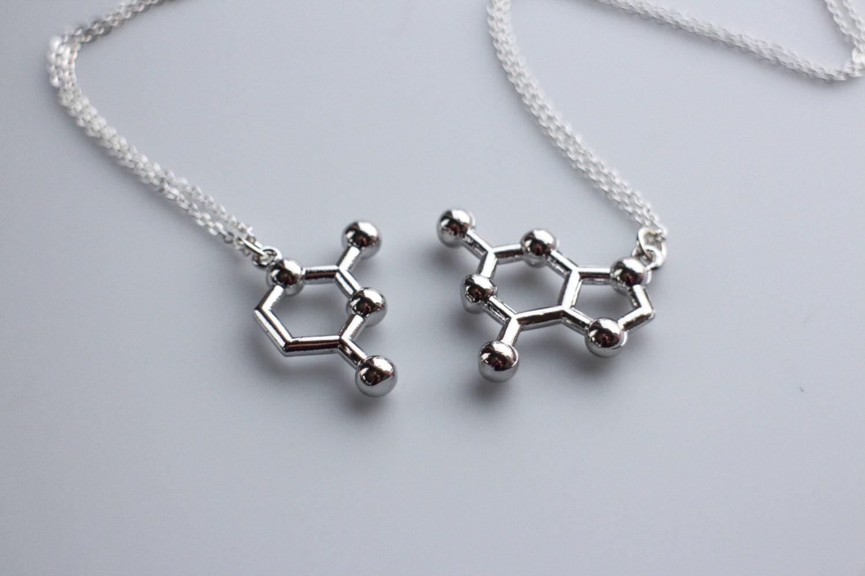 dna base pair molecule necklace friendship necklace pair