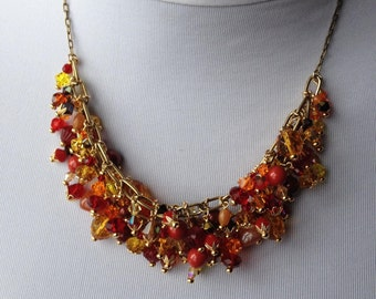 "Beaded ""Fire"" Bib Necklace - Swarovski Crystals, Czech Crystals, Natural Stones, Antiqued Gold, Statement"