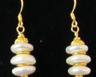 Center drilled coin pearl earrings with Vermeil accents and earwires