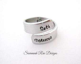 Handstamped wrap ring. Custom wrap ring. Personalized wrap ring. Custom jewelry. Handstamped jewelry. Aluminum wrap ring.