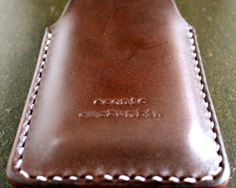 iPhone 5 case/sleeve leather dark brown handmade in Australia from eco friendly materials
