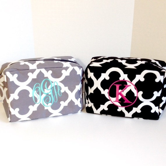 Set of Two Monogrammed Makeup Bags, Grey, Black, Set of 2 Personalized Cosmetic Bags, Makeup Pouches, Bridesmaids Gifts, Bridal Shower Gifts