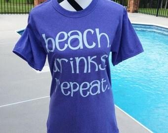 Beach. Drinks. Repeat Short Sleeve Shirt. Beach Shirt. Summer Shirt. Personalized Shirt. Gifts. Personalized Gifts.