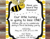 Bee Theme First Birthday Invitation - 1st Birthday Boy Girl Custom Invitation - Boy or Girl Bee Theme First Birthday Party Invitation