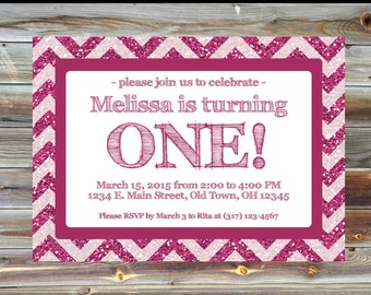 Pink Glitter Chevron Birthday Party Invitation - Printable Custom First Birthday Invitation - 1st Birthday Girl Pink Invitation