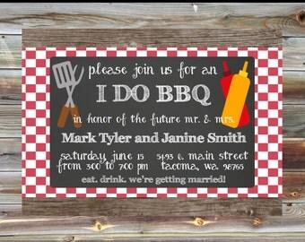 I Do BBQ Couples Shower Invitation - I Do BBQ Red Plaid Invite - Couples Engagement Party Invitation - Bridal Shower BBQ Custom Invitation