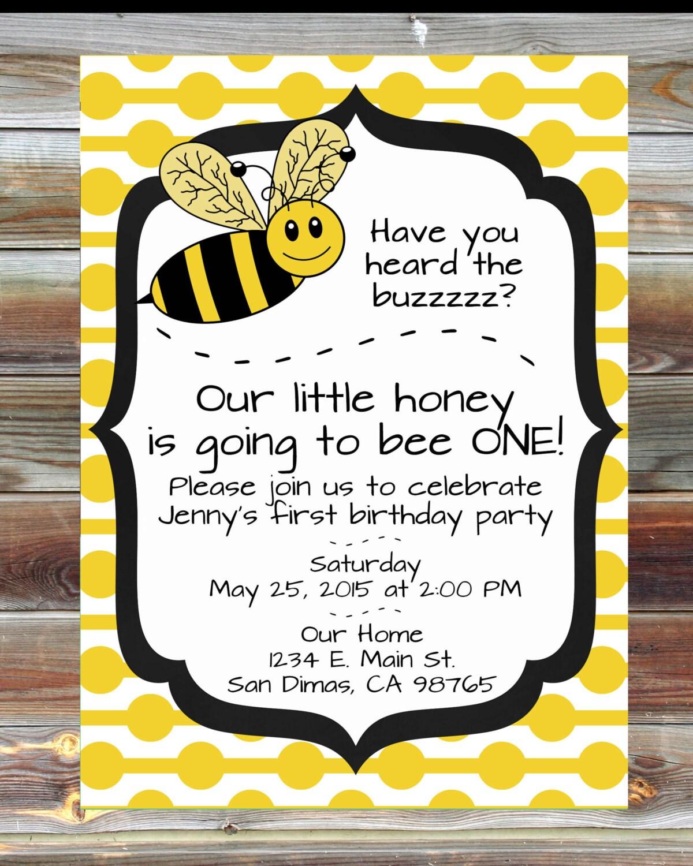 Honey bee invitation – Bumble Bee Party Invitations