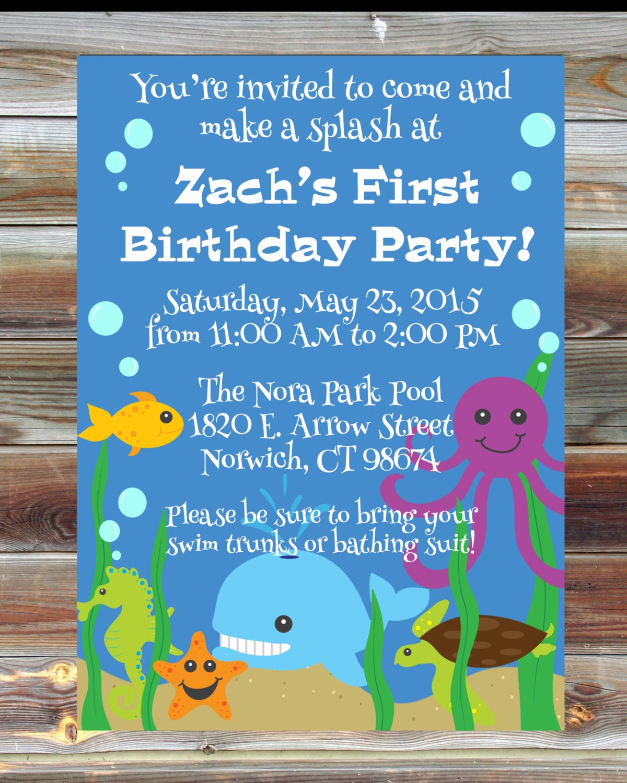 Ocean Theme First Birthday Invitation 1st 2nd 3rd Birthday
