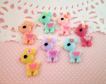 Multicolor Kawaii Deer Cabochons, Cute Animal Cabs, #378a
