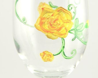 Hand Painted Yellow roses wine glass