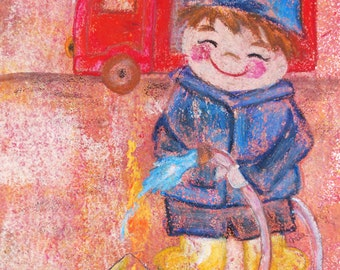 Nursery picture little fireman - original/unique (A3)