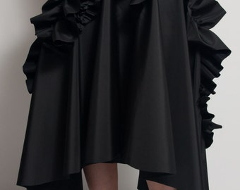 Asymmetric black skirt / Frill folded details skirt / Pleated skirt / Long black skirt / Lagenlook skirt / High waist skirt / Fasada 1513