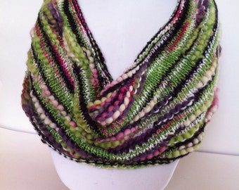 Hand knit cowl, bamboo, wool, premium yarn