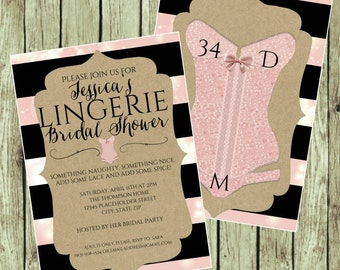Bridal Shower Invite - Lingerie Party - DIY Printable File - Pink and Black