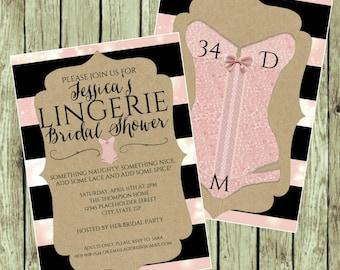 Bridal Shower Invite - Lingerie Party - DIY Printable File - Pink and Black