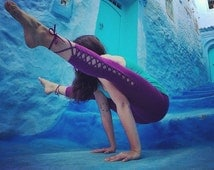 Nymph Leggings - Purple Women Yoga Pants, Leggings, Capris style, 3/4lenght, criss-cross lace up, ecoluxe