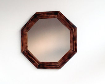 Wall Mirror - Geometric Octagonal Wooden Mirror - Handmade Reclaimed Wood Frame - Decorative Wall Mirror - Pine mirror - Geometric mirror