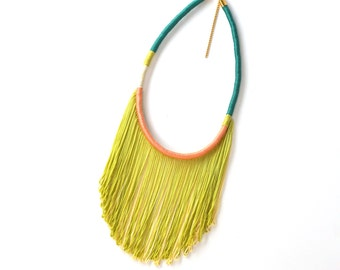 SYDNEY // Fringe Necklace, Statement Necklace, Rope Necklace, Lime Green Necklace, Multicolor Necklace, Yellow Necklace, Fringe Jewelry