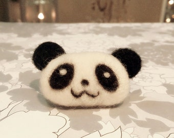 Needle Felted Panda Brooch, Felted Panda Magnet, Felted Panda Pin, Felted Panda Clip