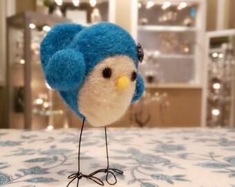 Needle Felted Bird, Felted Standing Bird, Felt Bird, Blue Felted Birdie