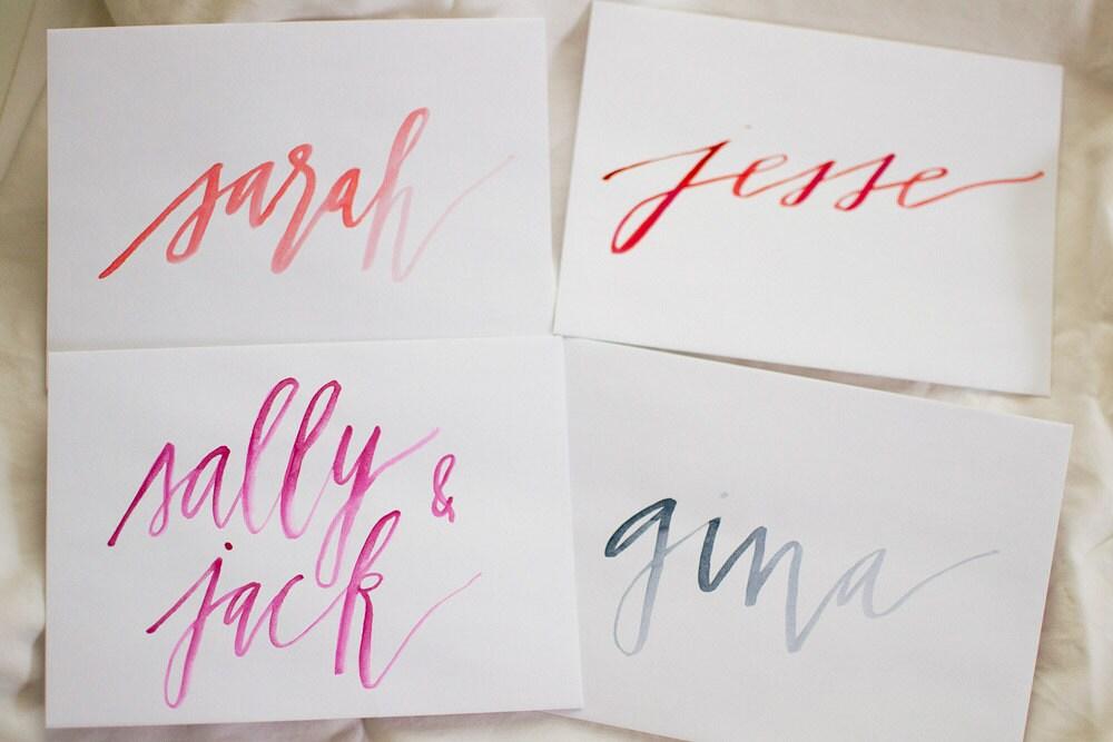 Modern watercolor calligraphy envelope addressing wedding