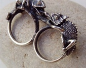 Double ring - Chameleon ring - Sterling Silver - Free Shipping